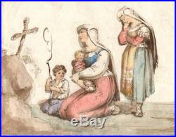19th Original Drawing Praying Women with a Kid and a Baby