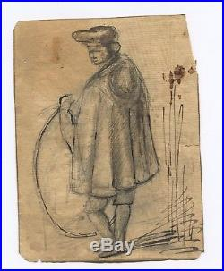 19th century Ink Drawing Man with a Hoop circa 1820