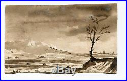 19th century Ink Drawing Mountain Landscape with People