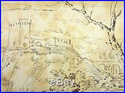Ecole Française ou Italienne Fin XVIIIe Beau Paysage Italie Old Drawing